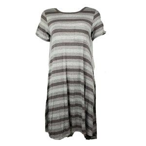 NWT Lularoe Gray Striped Carly Dress XS